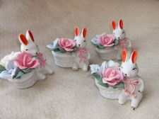 4 X ADORABLE CHINA FIGURINES RABBITS WITH HAND MADE HANDPAINTED FLOWER POSY